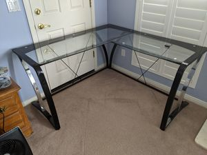 Glass topped corner office desk for Sale in Phoenix, AZ
