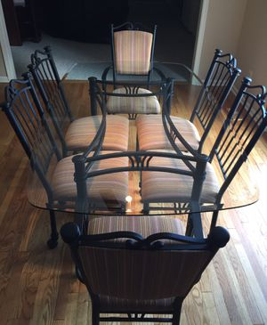 Glass Kitchen Table 6 Chair Set with Rod Iron Frame for Sale in Dayton, MD
