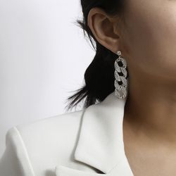 Simple crystal hip hop chain gold drop earrings, Silver for Sale in Los Angeles,  CA