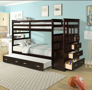 Wood twin over twin bunk bed for Sale in Staten Island, NY