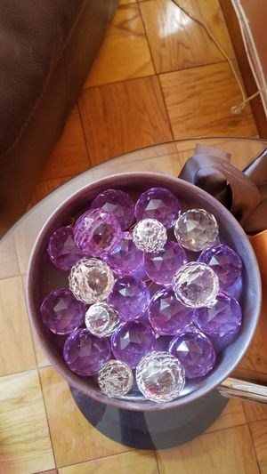 Cristal chandelier balls. 33 big clear+ 14 violvet+ 9 small clear. Buy as many as needed. Shipping price depends on amount of pieces purchased. for Sale in Brooklyn, NY