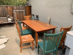 Beautiful hand made wooden table and six chairs. for Sale in Moraga, CA