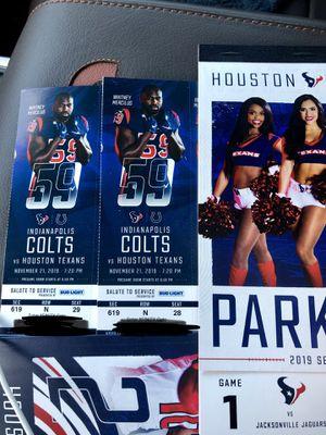 Texans Vs Colts. Nov 21 for Sale in Deer Park, TX