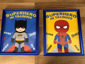 Set of Framed Batman and Spider-Man pictures for Sale in Waynesburg, PA