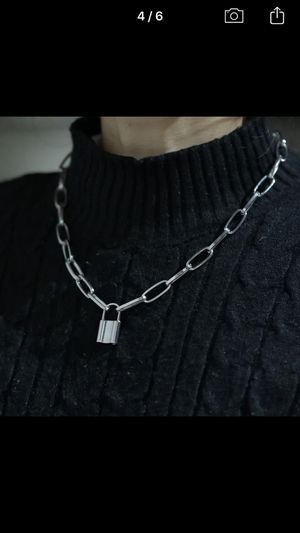 Stainless Steel, Gold, and Silver Color PadLock Pen Necklaces Brand Punk Hip hop Chain lock. for Sale in Lake Worth, FL