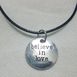 """Believe in Love Silver plated Necklace. Charm pendant Comes with 18"""" in long Leather Code Beautiful Necklaces for Sale in Queens, NY"""