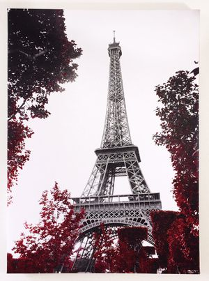 Eiffel Tower surrounded by red autumn leaves canvas art for living room bedroom cafe restaurant wall decor for Sale in Seattle, WA
