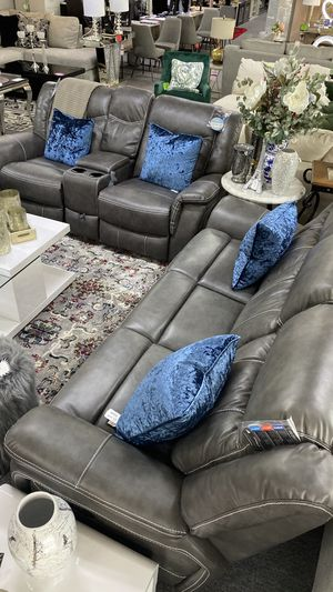 Grey PU Leather Recliner Sofa and Love Seat with Cup Holders and Storage R7C for Sale in Euless, TX