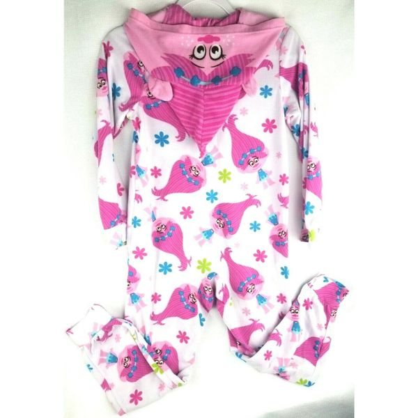 DreamWorks Trolls Poppy Girls Blanket Sleeper Zip Up Pajamas Size L Large Pink