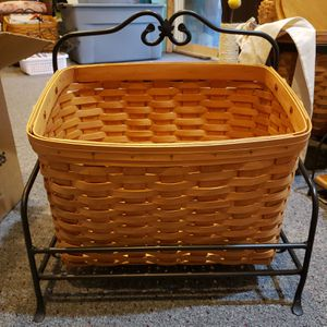 Longaberger wrought iron newspaper / magazine stand and basket for Sale in Black Diamond, WA