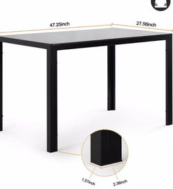 Modern 48 in. Rectangle Black Tempered Glass-Topped Dining Table for Kitchen Room or Living Room for Sale in Corona,  CA