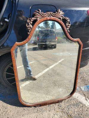 Large Antique Dark Wood framed mirror for Sale in Fresno, CA