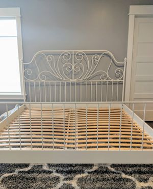 IKEA LIERVIK KING BED FRAME WITH CENTER BEAM AND SLATED BASE, WHITE METAL for Sale in Renton, WA