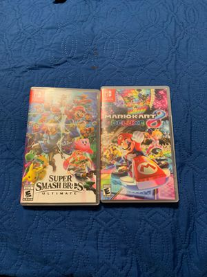 Super smash bros ultimate and mario kart 8 deluxe for Sale in Fort McDowell, AZ