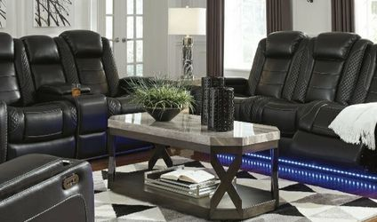 [EXCLUSIVE] Party Time Midnight LED Power Reclining Living Room Set with Adjustable Headrest for Sale in Washington,  DC