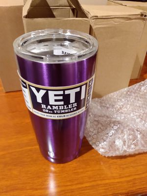 Yeti Coolers Custom Stainless Steel 20 Ounce Rambler Tumbler with Lid - NEW PURPLE - Keeps Your Drink Hot or Cold for Hours for Sale in Long Beach, CA