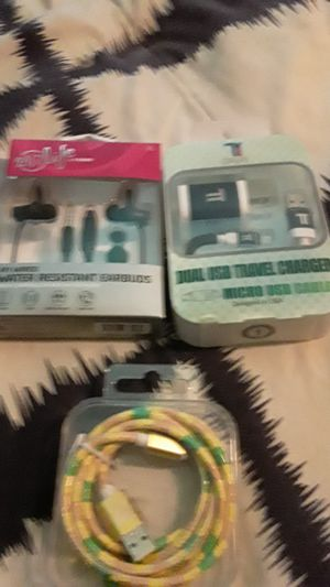 4 foot wired water-resistant earbuds dual USB travel charger and a regular Android charger for Sale in NEW PRT RCHY, FL