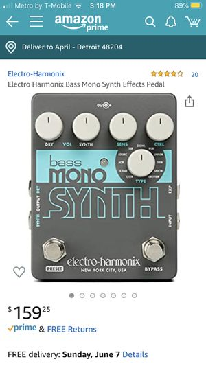 Electro Harmonix Bass Mono Synth Pedal for Sale in Detroit, MI