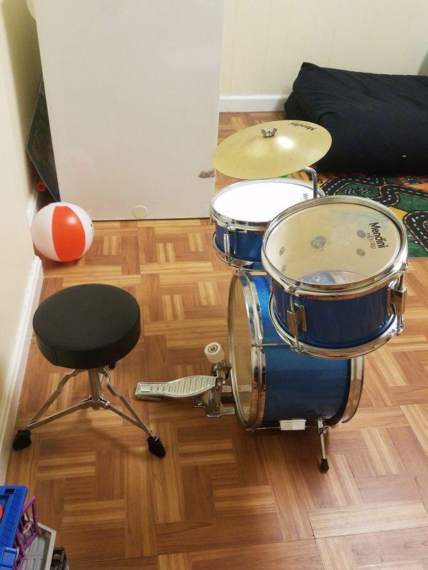 Mendini 3 Drum Set Metallic Blue 13-inch
