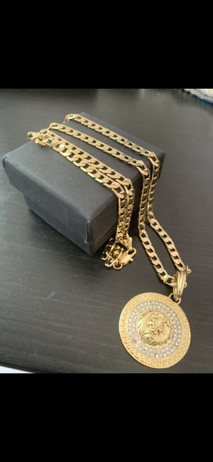 14k gold 6mm cuban chain and diamond charm for Sale in Tampa, FL