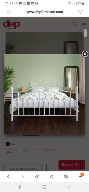 New Queen bed frame white mattress not included for Sale in Charlotte, NC