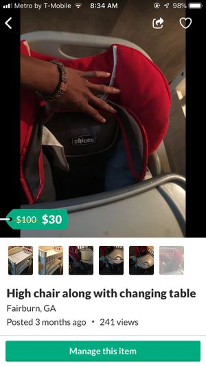 High chair along with changing tables for Sale in Jonesboro, GA