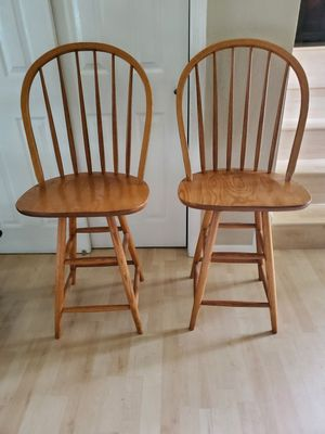 Two Solid Wood Swivel Bar Stools 24in from Seat to Floor for Sale in Virginia Beach, VA