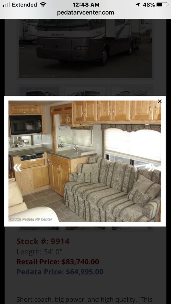 40k mileage 2002 Rv Holiday Rambler Endeavor 34pbd in good condition last day! Text {contact info removed} today!