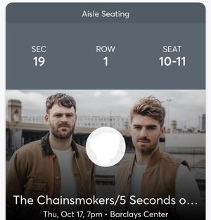 2 Tickets - The Chainsmokers/5 Seconds of Summer for Sale in NJ, US