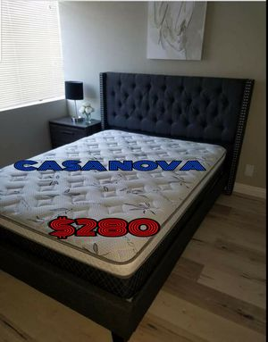 BRAND NEW BED FRAME QUEEN COMES IN BOX WITH EURO PILLOW TOP MATTRESS INCLUDED $280📢📢📢📢AVAILABLE FOR SAME DAY DELIVERY OR PICK UP for Sale in Compton, CA