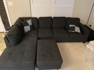 Dark grey L shaped couch for Sale in Laurel, MD