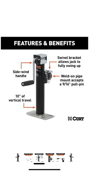 CURT 28321 Weld-On Pipe-Mount Swivel Trailer Jack, 2,000 lbs. 10 Inches Vertical Travel for Sale in Los Angeles, CA