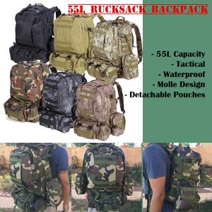 New 55L Camping Hiking Traveling Tactical Backpack Molle Design Detachable Pouches (See all colors) for Sale in Riverside, CA