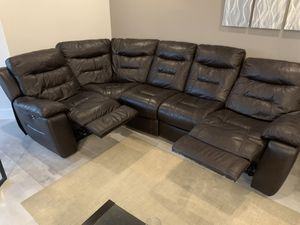 Leather sectional with power 2 recliner brown .!! for Sale in Miami, FL