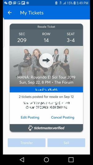 2 tickets for Mana ( MAKE AN OFFER) for Sale in South Gate, CA