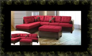 Red sectional with ottoman for Sale in Ashburn, VA
