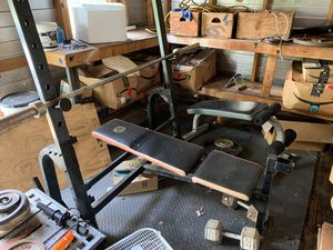 Home gym bench barbell curling bar weights dumbbells for Sale in Homestead, FL