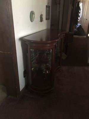 Small hallway lighted curio cabinet. Excellent condition. Heavy solid wood piece, glass shelf. for Sale in Philadelphia, PA