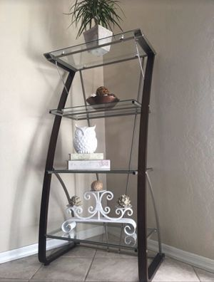 """Bookshelf / bookcase / vertical modern glass shelves storage unit / book shelf Like new 5ft tall by 30"""" wide by 16"""" deep Excellent condition for Sale in Glendale, AZ"""