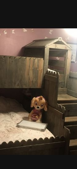 Bunk bed Wooden Full With Twin for Sale in Menifee,  CA