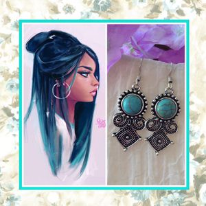 🌺 NEW SILVER TRIBAL TEAL TURQUOISE EARRINGS AZTEC for Sale in Las Vegas, NV