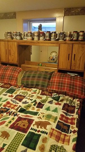 Water bed king size. Wooden frame and headboard with under bed storage for Sale in Williamstown, VT