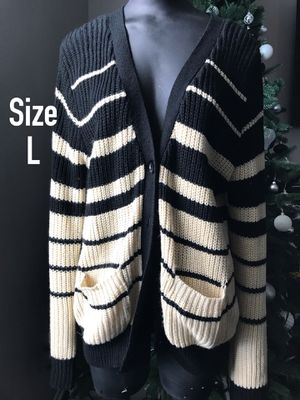 Juniors Black & Tan Stripe Cardigan Button Sweater Size Large Forever 21 F21 for Sale in Palmdale, CA