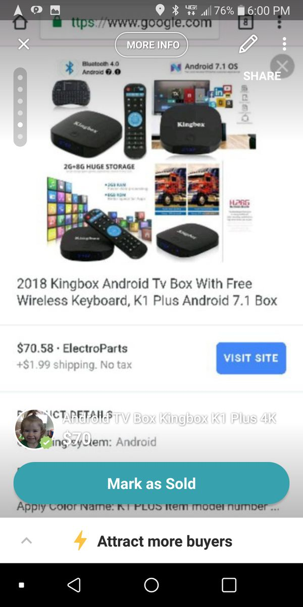 Android TV Box Kingbox K1 4K for Sale in Rockville, MD - OfferUp