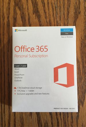 Microsoft Office 365 Personal Subscription (1 user - 1 year) for Sale in Murrieta, CA