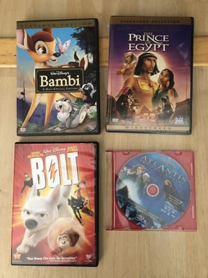 Four Disney dvd movies - Bambi bolt prince of Egypt Atlantis for Sale in San Mateo, CA
