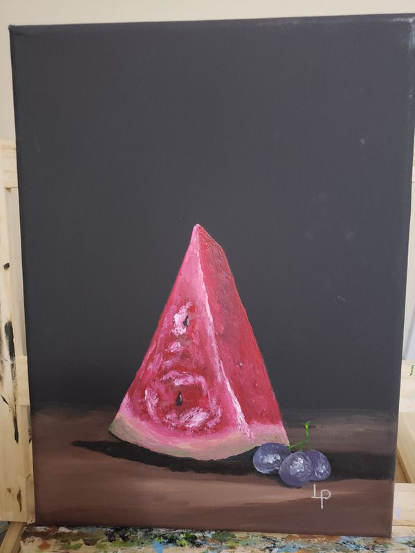 piece of watermelon in canva, acrylic paint. just painted