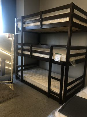Twin triple bunk bed with mattresses for Sale in Hesperia, CA