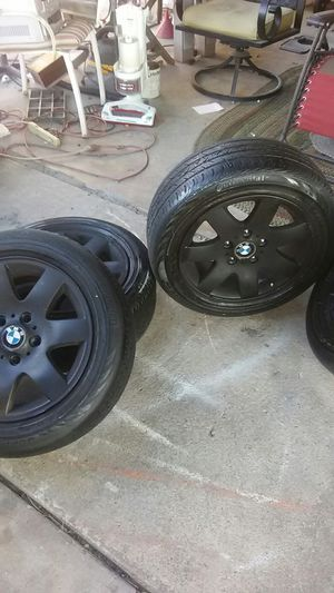 4 BMW RIMS AND TIRES.. 205/33/R16 WITH DECENT TREAD for Sale in Tucson, AZ