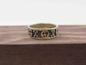 Size 7 Sterling Silver Peace Symbol Hippie Band Ring Vintage Statement Engagement Wedding Promise Anniversary Bridal Cocktail Friendship for Sale in Lynnwood, WA